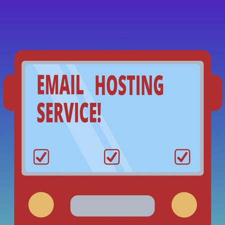 Handwriting text Email Hosting Service. Concept meaning Internet hosting service that operates email server Drawn Flat Front View of Bus with Blank Color Window Shield Reflecting Banco de Imagens