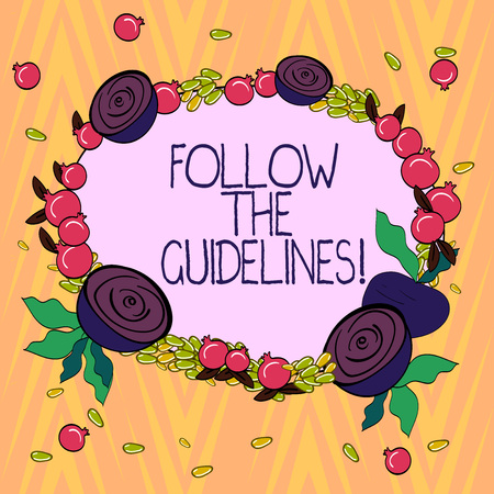 Conceptual hand writing showing Follow The Guidelines. Business photo text Pay attention to general rule, principles or advice Floral Wreath made of Tiny Seeds Small Glossy Pomegranate