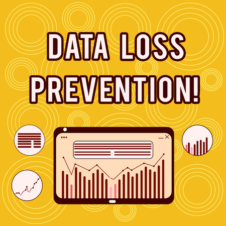 Writing note showing Data Loss Prevention. Business photo showcasing Software that detects potential data breaches Digital Combination of Column Line Data Graphic Chart on Tablet Screen Stock Photo