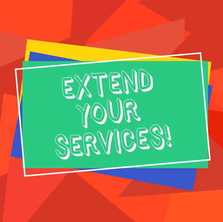 Text sign showing Extend Your Services. Conceptual photo Broaden or expand the scope of the services offered Pile of Blank Rectangular Outlined Different Color Construction Paper