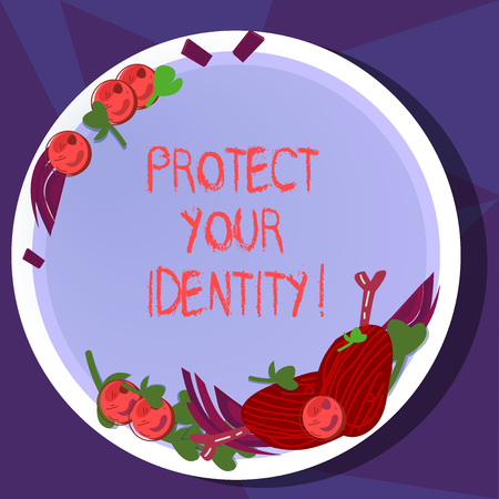 Text sign showing Protect Your Identity. Conceptual photo enabling privacy on your social media accounts Hand Drawn Lamb Chops Herb Spice Cherry Tomatoes on Blank Color Plate