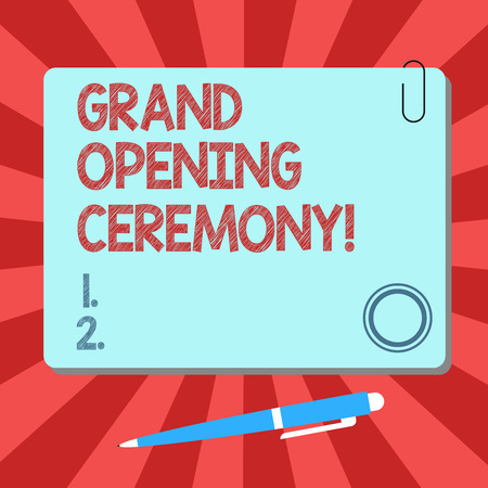 Handwriting text Grand Opening Ceremony. Concept meaning mark the opening of a new business or public place Blank Square Color Board with Magnet Click Ballpoint Pen Pushpin and Clip