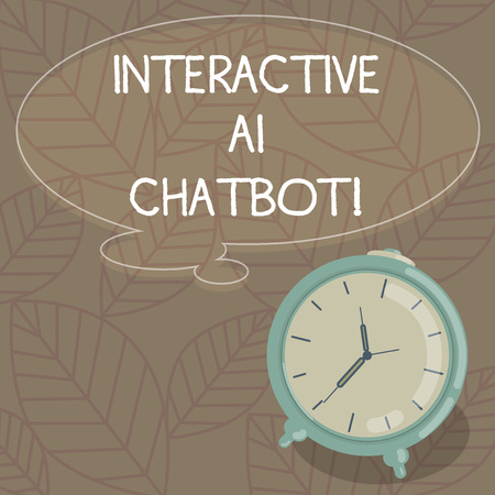 Writing note showing Interactive Ai Chatbot. Business photo showcasing computer program that simulates huanalysis conversation Blank Color Thought Speech Bubble with Outline and Alarm Clock photo