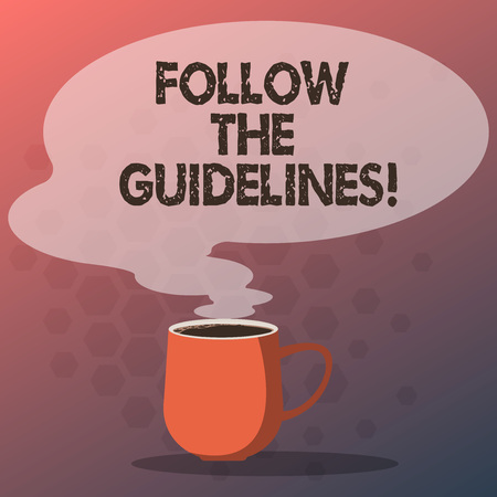 Text sign showing Follow The Guidelines. Conceptual photo Pay attention to general rule, principles or advice Mug photo Cup of Hot Coffee with Blank Color Speech Bubble as Steam icon
