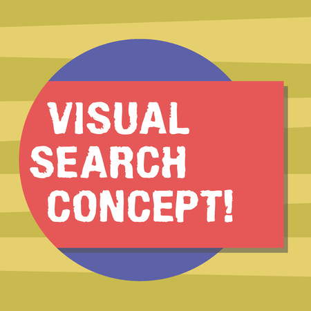 Text sign showing Visual Search Concept. Conceptual photo perceptual task requiring attention for an object Blank Rectangular Color Shape with Shadow Coming Out from a Circle photo 版權商用圖片
