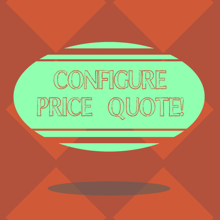 Handwriting text Configure Price Quote. Concept meaning software use by companies for costing the goods Blank Color Oval Shape with Horizontal Stripe Floating and Shadow photo 写真素材