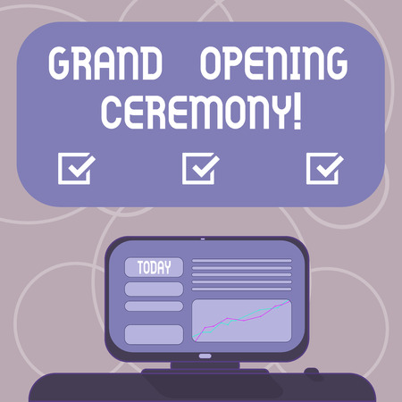 Word writing text Grand Opening Ceremony. Business concept for mark the opening of a new business or public place Mounted Computer Screen with Line Graph on Desk Blank Color Text Box