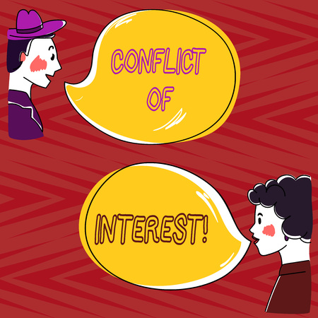 Writing note showing Conflict Of Interest. Business photo showcasing interests of public duty versus private interests Hand Wo analysis Talking photo with Blank Color Speech Bubble