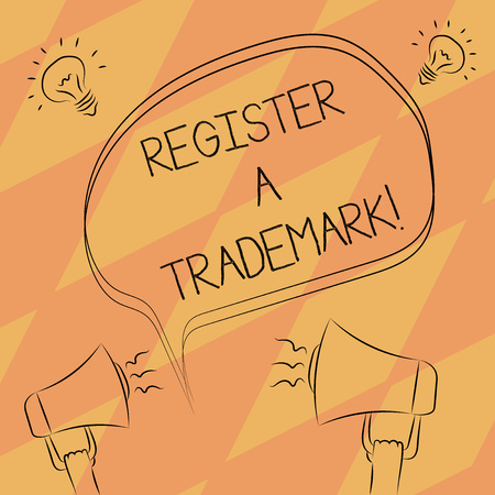 Text sign showing Register A Trademark. Conceptual photo To record or list as official company brand or logo Freehand Outline Sketch of Blank Speech Bubble Megaphone Sound Idea Icon