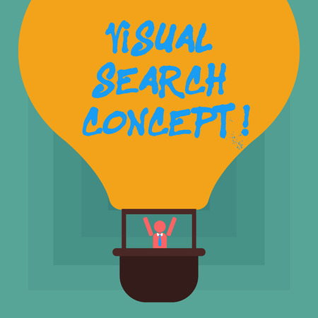 Conceptual hand writing showing Visual Search Concept. Business photo showcasing perceptual task requiring attention for an object Hu analysis Dummy Arms Raising in Gondola Riding Air Balloon
