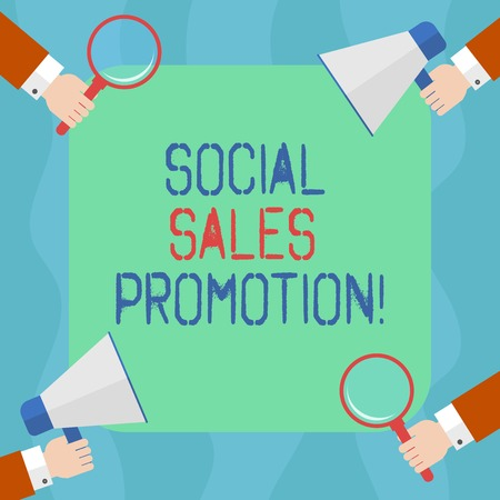 Conceptual hand writing showing Social Sales Promotion. Business photo text provide added value or incentives to consumers online Hu analysis Hands Holding Magnifying Glass and Megaphone Reklamní fotografie