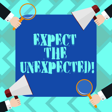 Text sign showing Expect The Unexpected. Conceptual photo Anything could happen Not to be surprised by the event Hu analysis Hands Each Holding Magnifying Glass and Megaphone on 4 Corners 版權商用圖片