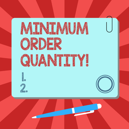 Handwriting text Minimum Order Quantity. Concept meaning lowest quantity of a product a supplier can sell Blank Square Color Board with Magnet Click Ballpoint Pen Pushpin and Clip