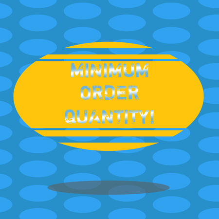 Word writing text Minimum Order Quantity. Business concept for lowest quantity of a product a supplier can sell Blank Color Oval Shape with Horizontal Stripe Floating and Shadow photo