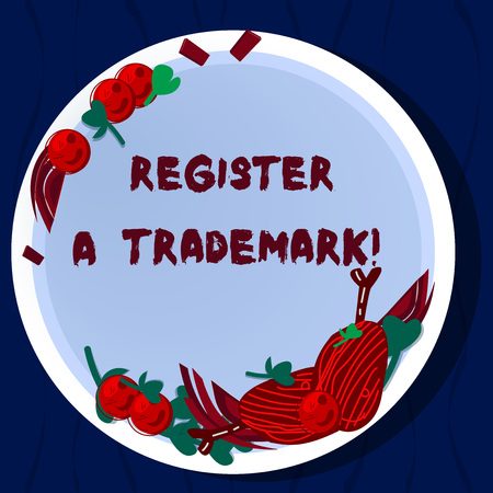 Handwriting text Register A Trademark. Concept meaning To record or list as official company brand or logo Hand Drawn Lamb Chops Herb Spice Cherry Tomatoes on Blank Color Plate