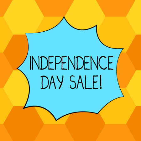 Handwriting text Independence Day Sale. Concept meaning Promotions and discounts during Independence Day Blank Color Explosion Blast Scream Speech Bubble photo for Promotion Ads