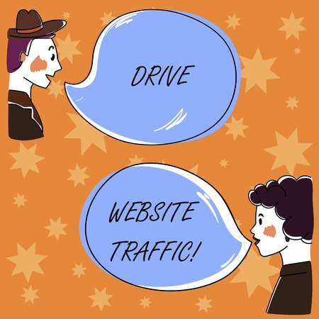 Handwriting text Drive Website Traffic. Concept meaning Increase the number of visitors to business website Hand Drawn Man and Wo analysis Talking photo with Blank Color Speech Bubble