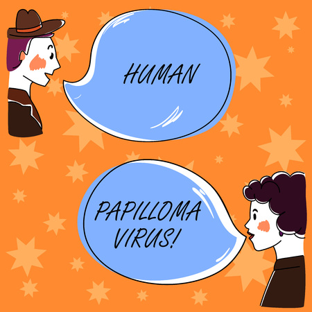 Handwriting text Huanalysis Papilloma Virus. Concept meaning most common sexually transmitted infection disease Hand Drawn Man and Wo analysis Talking photo with Blank Color Speech Bubble