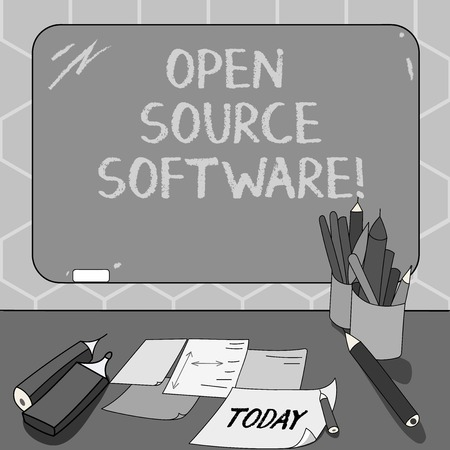 Text sign showing Open Source Software. Conceptual photo software with source code that anyone can modify Mounted Blank Color Blackboard with Chalk and Writing Tools Sheets on Desk
