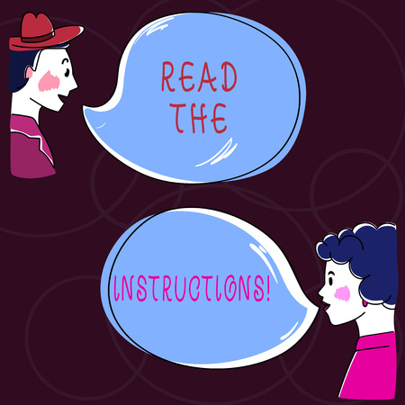 Conceptual hand writing showing Read The Instructions. Business photo text carefully read something that someone tells you to do Hand Wo analysis Talking photo with Blank Color Speech Bubble