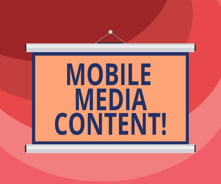 Text sign showing Mobile Media Content. Conceptual photo electronic media which is viewed on mobile phones Blank Portable Wall Hanged Projection Screen for Conference Presentation 写真素材