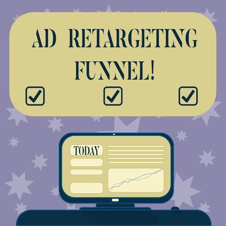 Conceptual hand writing showing Ad Retargeting Funnel. Business photo text Aiming relevant ads to those have visited your website Mounted Computer Screen with Line Graph on Desk Text Box