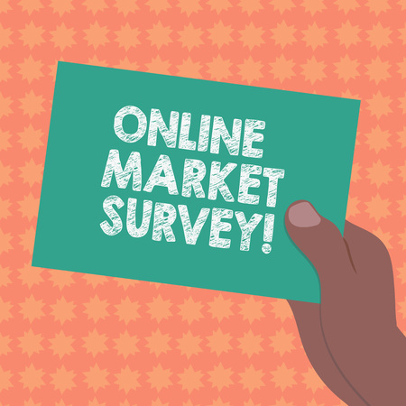 Writing note showing Online Market Survey. Business photo showcasing gathering information essential for market research Drawn Hu analysis Hand Holding Blank Color Paper Cardboard
