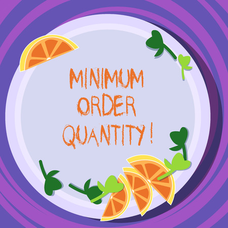 Conceptual hand writing showing Minimum Order Quantity. Business photo text lowest quantity of a product a supplier can sell Cutouts of Sliced Lime Wedge and Herb Leaves on Color Plate Banco de Imagens