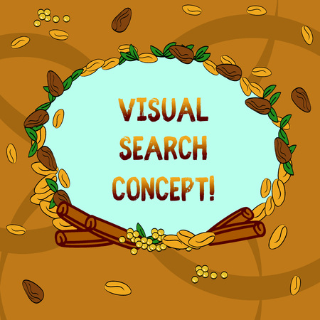 Text sign showing Visual Search Concept. Conceptual photo perceptual task requiring attention for an object Wreath Made of Different Color Seeds Leaves and Rolled Cinnamon photo 版權商用圖片