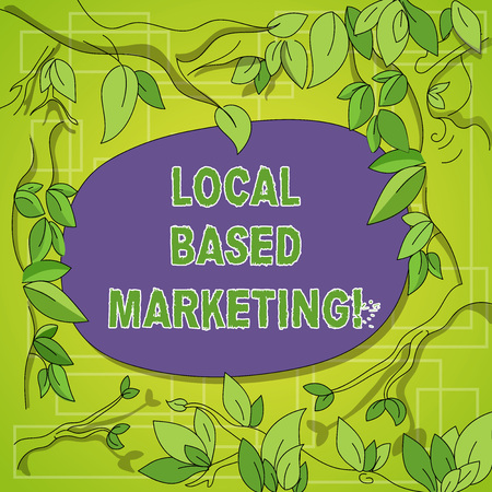 Writing note showing Local Based Marketing. Business photo showcasing marketing way that depends on the location of client Tree Branches Scattered with Leaves Surrounding Blank Color Text Space