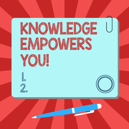 Handwriting text Knowledge Empowers You. Concept meaning To equip someone with skills and knowledge to do task Blank Square Color Board with Magnet Click Ballpoint Pen Pushpin and Clip Archivio Fotografico - 115783231