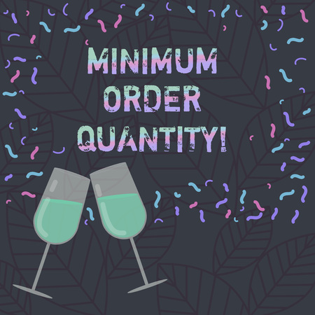 Conceptual hand writing showing Minimum Order Quantity. Business photo text lowest quantity of a product a supplier can sell Filled Wine Glass for Celebration with Scattered Confetti photo Banco de Imagens