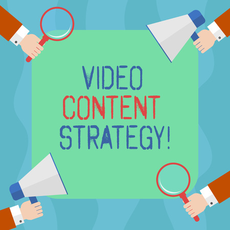 Conceptual hand writing showing Video Content Strategy. Business photo text use specific video format according to buying stages Hu analysis Hands Holding Magnifying Glass and Megaphone