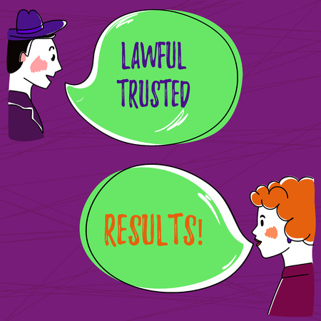 Text sign showing Lawful Trusted Results. Conceptual photo Closing deal secure by legal contracts and agreement Hand Drawn Man and Wo analysis Talking photo with Blank Color Speech Bubble