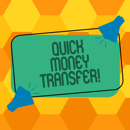 Handwriting text writing Quick Money Transfer. Concept meaning Fast way to move money electronically or physically Two Megaphone with Sound icon on Blank Color Outlined Rectangular Shape Banco de Imagens