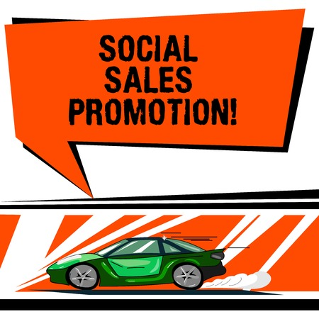 Word writing text Social Sales Promotion. Business concept for provide added value or incentives to consumers online Car with Fast Movement icon and Exhaust Smoke Blank Color Speech Bubble