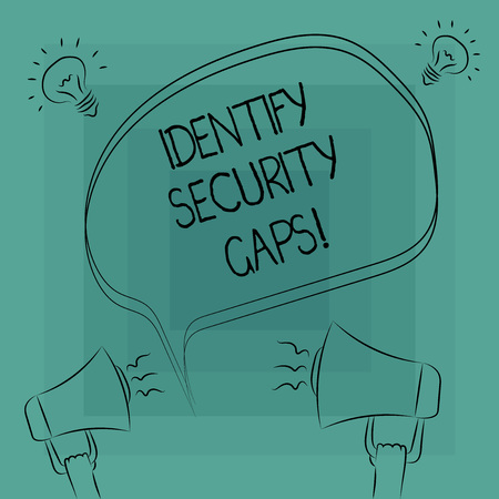 Conceptual hand writing showing Identify Security Gaps. Business photo text determine whether the controls in place are enough Freehand Outline Sketch of Speech Bubble Megaphone Idea Icon