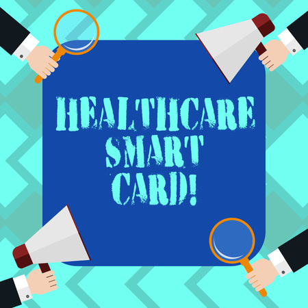 Text sign showing Healthcare Smart Card. Conceptual photo A card that has basics of a patient s is health records Hu analysis Hands Each Holding Magnifying Glass and Megaphone on 4 Corners 写真素材