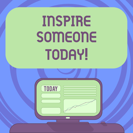 Text sign showing Inspire Someone Today. Conceptual photo Make someone feel that they can do it what they want Mounted Computer Screen with Line Graph on Desk Blank Color Text Box 스톡 콘텐츠