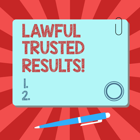 Handwriting text Lawful Trusted Results. Concept meaning Closing deal secure by legal contracts and agreement Blank Square Color Board with Magnet Click Ballpoint Pen Pushpin and Clip