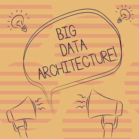 Word writing text Big Data Architecture. Business concept for designed to handle the analysis of too large data Freehand Outline Sketch of Blank Speech Bubble Megaphone Sound Idea Icon 版權商用圖片