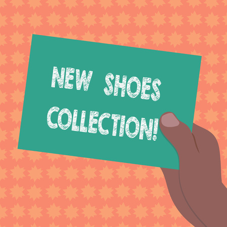 Writing note showing New Shoes Collection. Business photo showcasing The process or passion of collecting new footwear Drawn Hu analysis Hand Holding Blank Color Paper Cardboard