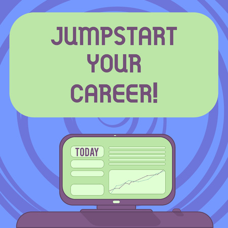 Text sign showing Jumpstart Your Career. Conceptual photo Make it work successfully after a period of failure Mounted Computer Screen with Line Graph on Desk Blank Color Text Box