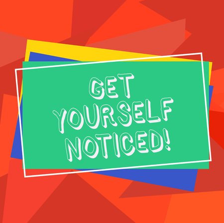 Text sign showing Get Yourself Noticed. Conceptual photo to be or become obvious or noticeable Stand out Pile of Blank Rectangular Outlined Different Color Construction Paper 免版税图像