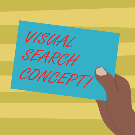 Text sign showing Visual Search Concept. Conceptual photo perceptual task requiring attention for an object Drawn Hu analysis Hand Holding Presenting Blank Color Paper Cardboard photo