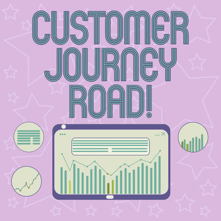 Handwriting text writing Customer Journey Road. Concept meaning Customer experiences when interacting your brand Digital Combination of Column Line Data Graphic Chart on Tablet Screen