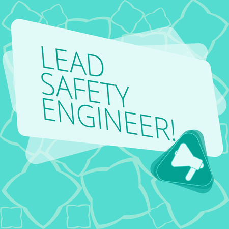 Word writing text Lead Safety Engineer. Business concept for develop policies to ensure safety of an all concerns Megaphone Inside Triangle and Blank Color Rectangle for Announcement Reklamní fotografie