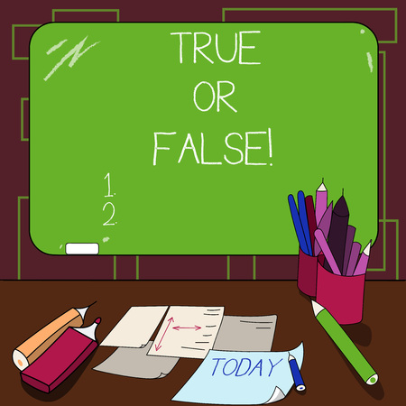 Writing note showing True Or Falsequestion. Business photo showcasing series of statements to be marked as true or false Mounted Blackboard with Chalk Writing Tools Sheets on Desk