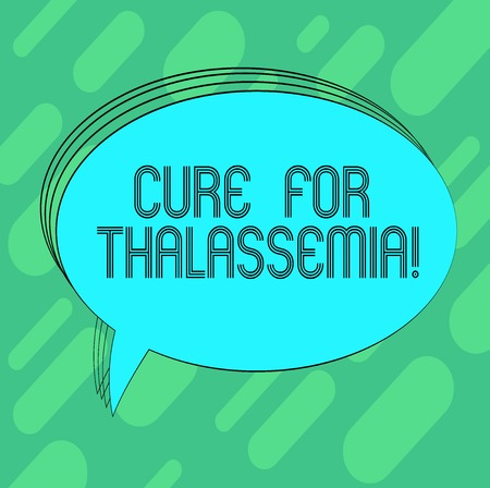Conceptual hand writing showing Cure For Thalassemia. Business photo showcasing Treatment needed for this inherited blood disorder Oval Outlined Solid Color Speech Bubble Empty Text Balloon Foto de archivo - 115845973