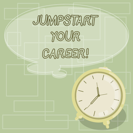 Text sign showing Jumpstart Your Career. Conceptual photo Make it work successfully after a period of failure Blank Color Thought Speech Bubble with Outline and Alarm Clock photo